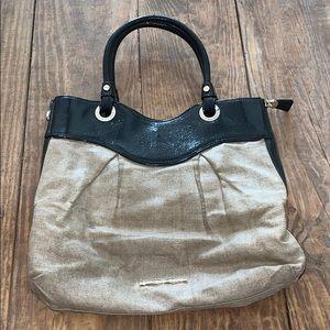 Elaine Turner | Tan Metallic Linen & Black Bag